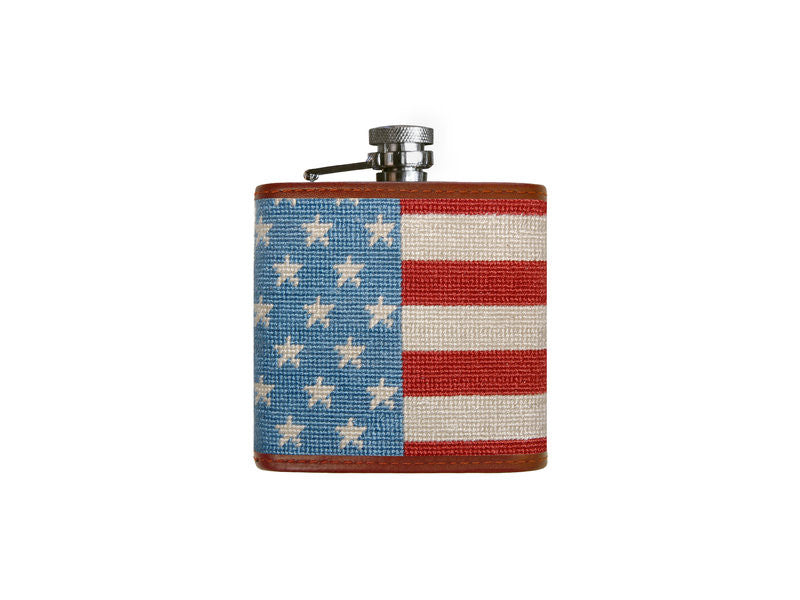 Needlepoint Collection | Stars and Stripes Needlepoint Flask | Captive Top | Smathers and Branson-Flask-Sterling-and-Burke
