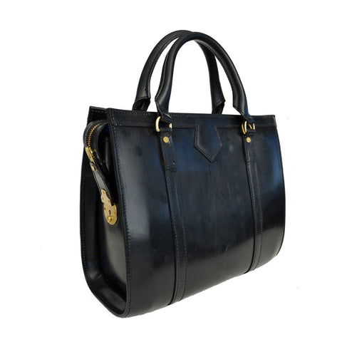 Classic Beatrice Handbag, Black | Hand Stitched | English Leather | Sterling and Burke