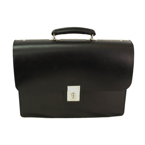 Sterling & Burke Single Gusset Document Case in Black with Nickel