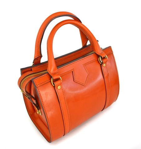 Petite Beatrice Handbag, London Tan | Hand Stitched | Orange English Bridle Leather | Small Luxury Handbag
