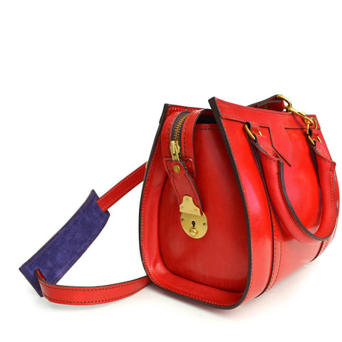 Petite Beatrice Handbag, Red | Hand Stitched | Red English Bridle Leather | Small Luxury Handbag