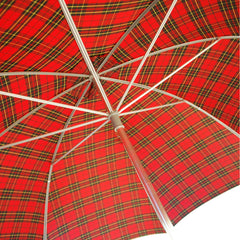 Chestnut Straight Handle Golf Umbrella, Plaid Canopy-Golf Umbrella-Sterling-and-Burke