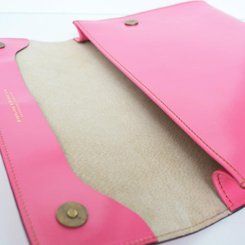Letter Size Flap Over Portfolio | Magnetic Closure | Pink Bridle Hide | Hand Stitched in England | Bespoke Production | Sterling and Burke-Portfolio-Sterling-and-Burke