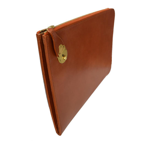 Zip Around Portfolio | Zipper Folio with Lock | Bridle Hide | Hand made in England | Tan, Brown, Black | Sterling & Burke Ltd