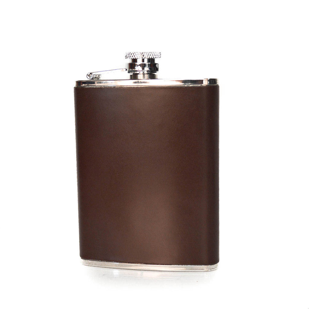 Leather Flask | Hip Flask | Initials | English Bridle Leather | Tan, Brown, Black, Navy | 6 oz. | Sterling and Burke-Flask-Sterling-and-Burke