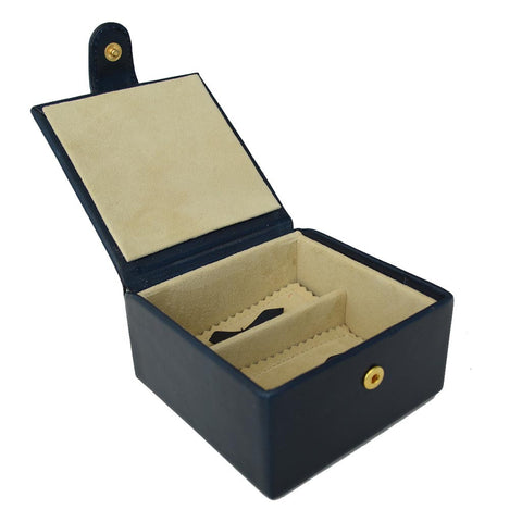 Medium Stud Box | Cufflink and Jewelry | Travel | English Bridle Leather | Tan, Black, Brown | Sterling and Burke