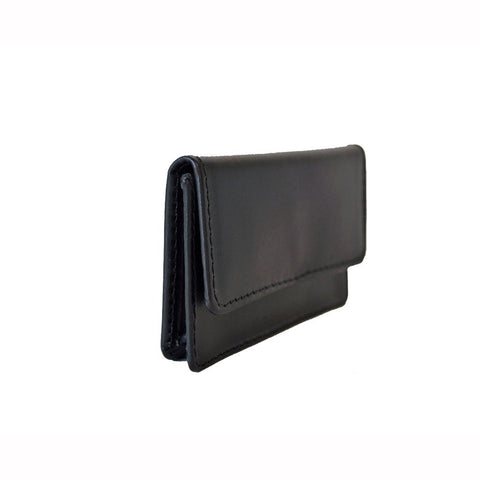 Business Card Case with Snap | English Leather | Red and Black | Sterling and Burke