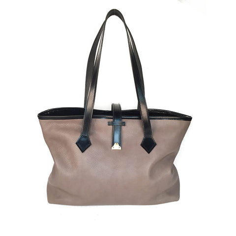 Shoulder Tote, Grey & Black | Women's Handbag | English Leather | Sterling & Burke Ltd
