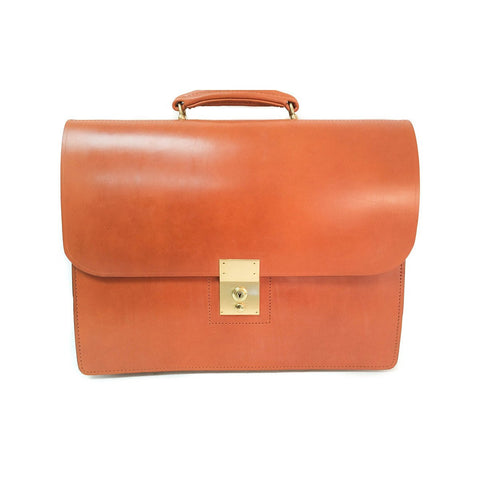Single Gusset Document Case, Dark London Tan | Slim Flap Over Briefcase | Tan English Bridle Leather | Sterling and Burke