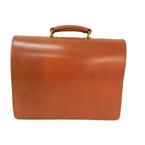 Sterling & Burke Single Gusset Document Case in Dark London Tan with Brass-Business Bags-Sterling-and-Burke