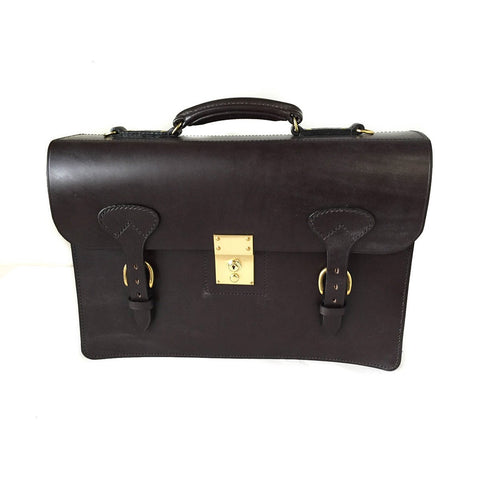 Triple Gusset with Short Straps, BESPOKE | Three Section Flap Over Briefcase | Hand Stitched | Brown English Bridle Leather | Sterling and Burke