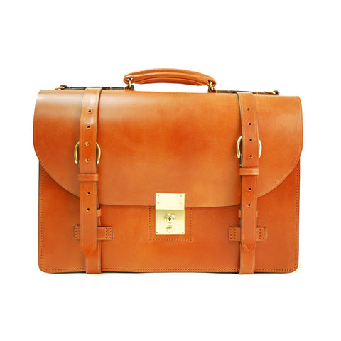 Strap Around | 3 Section | Dark London Tan | Flap Over Briefcase | Hand Stitched | English Bridle Leather | Sterling and Burke