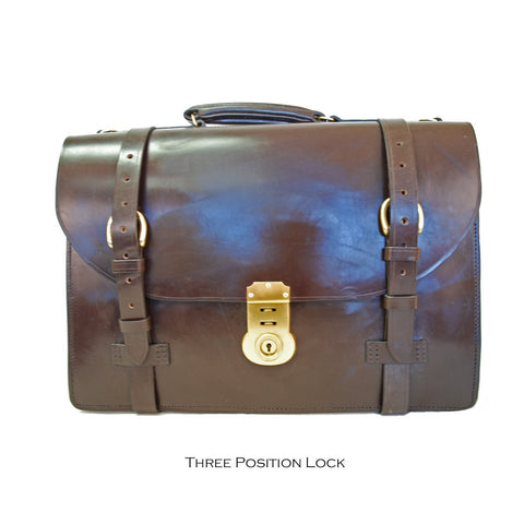 Sterling & Burke Strap Around Document Case in Dark London Tan with Brass-Business Bags-Sterling-and-Burke