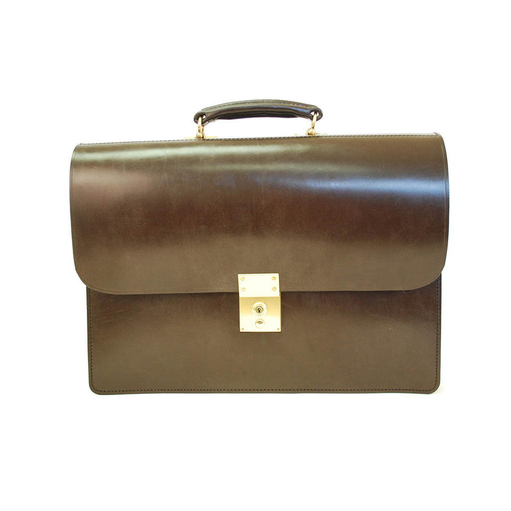 Twin Gusset Document Case | Havana | Two Section Flap Over Briefcase | Hand Stitched in England | Brown English Bridle Leather | Sterling and Burke-Document Case-Sterling-and-Burke
