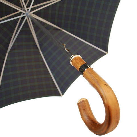 Plaid Doorman's Umbrella | Made in England | Chestnut Handle | Size 27 | Tartan Canopy | Sterling and Burke