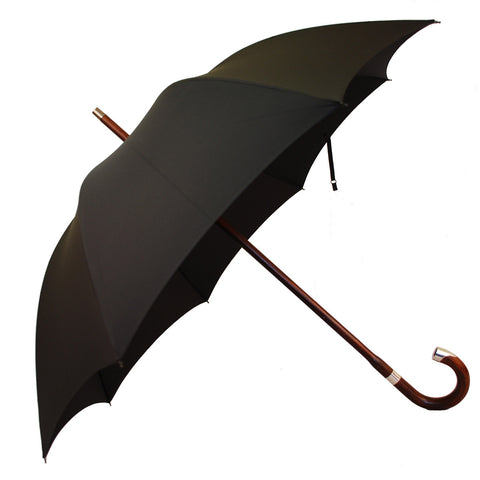 Polished Cherry Gent's Umbrella with Sterling Nose Cap-Gent's Umbrella-Sterling-and-Burke