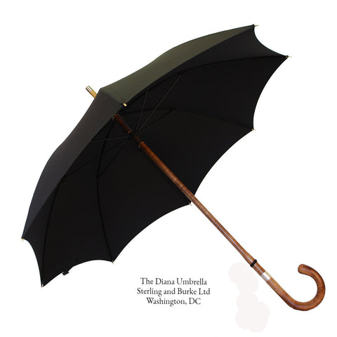 The Diana Umbrella | A Ladies Royal Umbrella | Solid Shaft Maple | Black Canopy | Gold Collar | Finest Quality | Made in England | Sterling and Burke Umbrellas