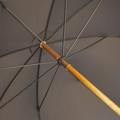 Whangee / Bamboo Handle Gent's Umbrella | Singing in the Rain Umbrella | Two Piece | Black Canopy | Gold Collar | Finest Quality | Made in England | Sterling and Burke Umbrellas-Gent's Umbrella-Sterling-and-Burke
