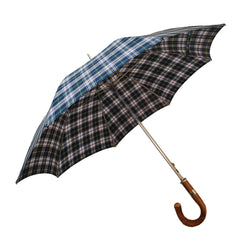 Plaid Doorman's Umbrella | Made in England | Chestnut Handle | Size 27 | Tartan Canopy | Sterling and Burke-Golf Umbrella-Sterling-and-Burke