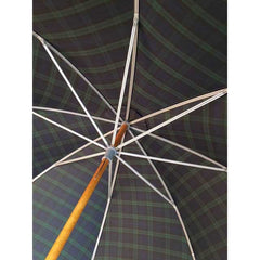 Classic Doorman's Umbrella | Wood Shaft | Chestnut Handle | Size 27 | Black-Watch Tartan Canopy-Doorman Umbrella-Sterling-and-Burke