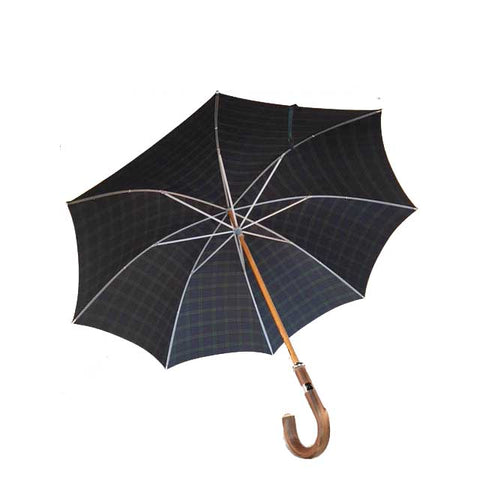 Classic Doorman's Umbrella | Wood Shaft | Chestnut Handle | Size 27 | Black-Watch Tartan Canopy