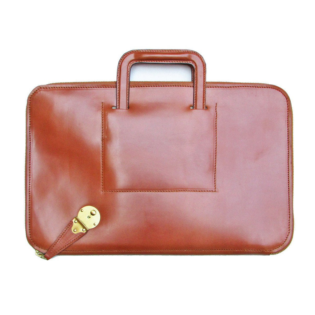 Zip Around Document Case, BESPOKE | Zipper Under Arm Briefcase | Retractable Handles | English Bridle Leather | Sterling and Burke-Document Case-Sterling-and-Burke