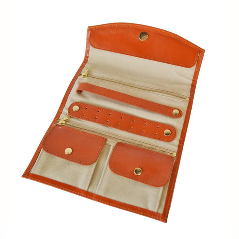 Travel Jewelry Roll | English Bridle Leather | Orange, Red | Sterling and Burke