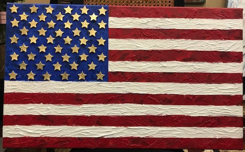 Freedom | American Flag | Original Mixed Media on Canvas by Sue Israel | 18 by 30 Inches-Mixed Media-Sterling-and-Burke