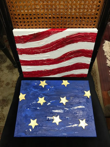Justice Diptych Stars and Stripes, Original Mixed Media on Canvas, 12 by 18 inches-Mixed Media-Sterling-and-Burke