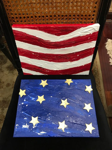 Liberty Diptych Stars and Stripes, Original Mixed Media on Canvas, 12 by 18 inches