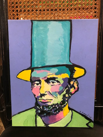 "Art | Periwinkle Lincoln I | Original Acrylic Painting by Sue Israel | 14"" x 11""-Mixed Media-Sterling-and-Burke"