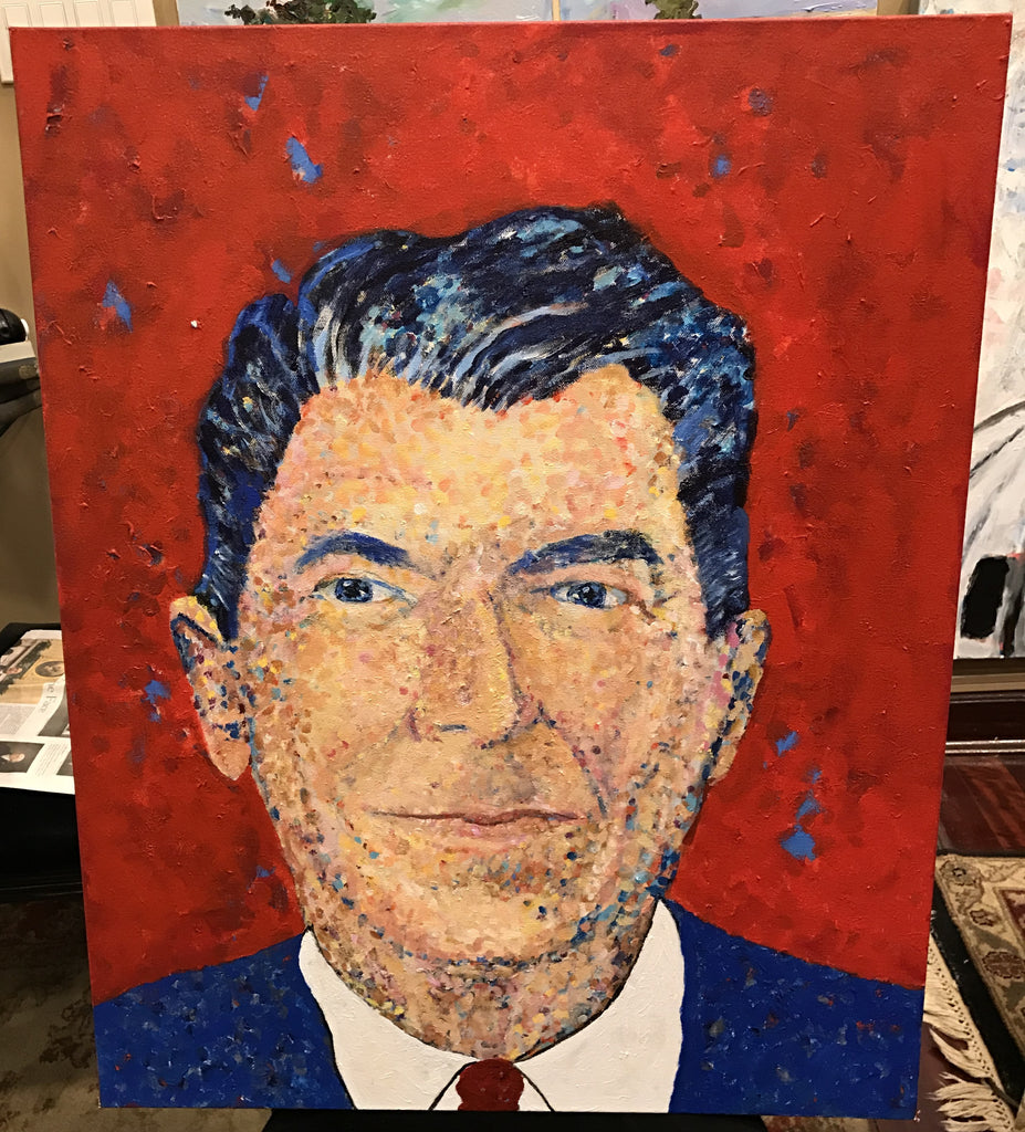 "Art | Ronald Reagan | Acrylic by Sue Israel | 30"" x 24""-Acrylic Painting-Sterling-and-Burke"
