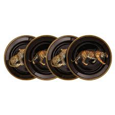 Fine English Bone China | Coasters | Set of 4 | MW Leopard Tiger | Black | Halcyon Days | Made in England