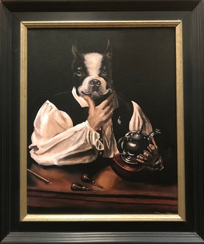 "Boston Bull | Giclee Painting by Tom Rose | 18.5""by 15.5""-Oil Painting-Sterling-and-Burke"