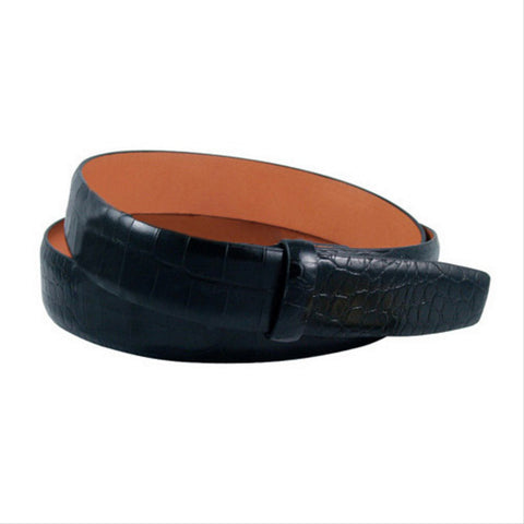 Alligator Embossed Leather 1 3/16 Inch Belt Strap, Black