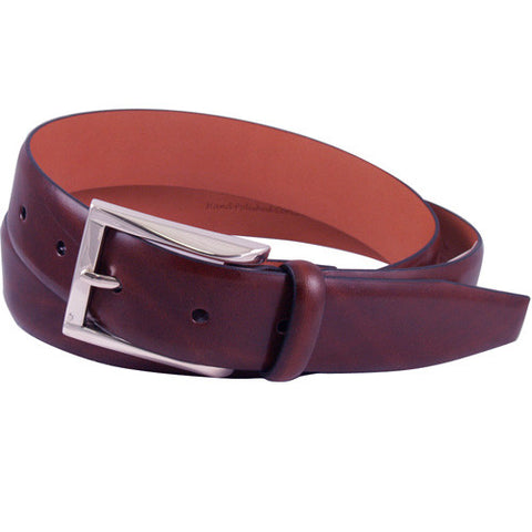 Broderick Leather Belt, Burgundy