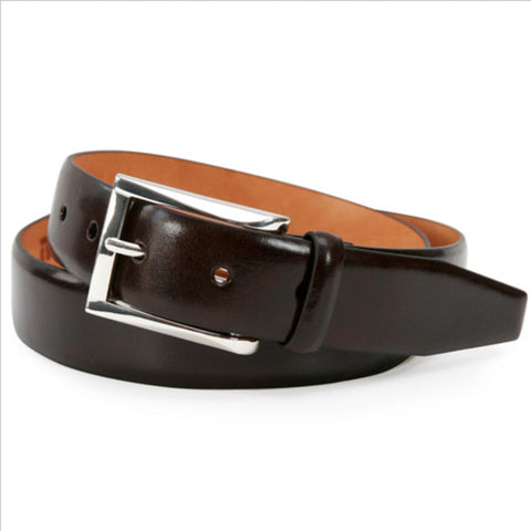 Broderick Leather Belt, Dark Brown