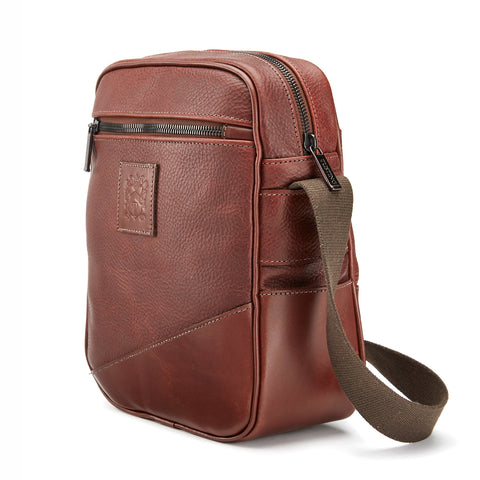 Tusting Nimrod Leather Crossbody Bag in Chestnut-Travel Bags-Sterling-and-Burke