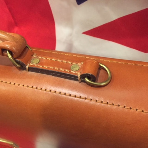 Twin Gusset Document Case | Red Lining | Shoulder Strap | Dark London Tan | Two Section Flap Over Briefcase | Hand Stitched | English Bridle Leather | Sterling and Burke-Document Case-Sterling-and-Burke
