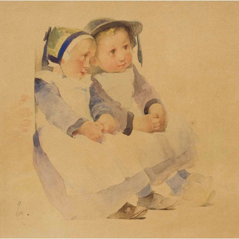 Antique Watercolor on Paper | Two Breton Children Seated Against a Wall by Henry Jean Jules Geoffroy | 22 by 22 Inches-Watercolor-Sterling-and-Burke