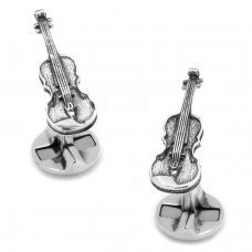 Sterling Silver Violin Cufflinks-Cufflinks-Sterling-and-Burke