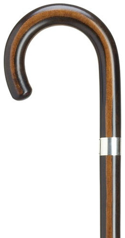 Maple Crook Handle Cane / Walking Stick | Elegant Cane with Silver Band | Made in USA