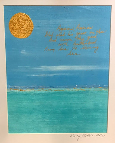 "Sea to Shining Sea | Original Mixed Media Art by Wendy Plotkin-Mates | 8"" by 10"""