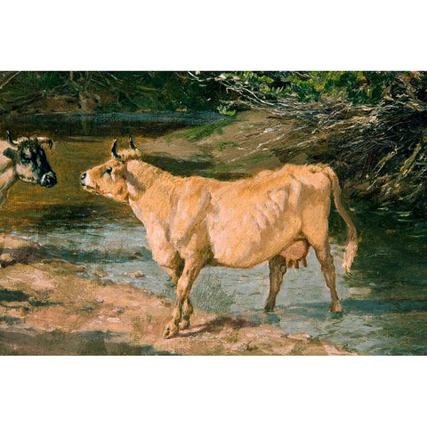 "Antique Oil Painting | Cows at a Watering Hole by William Baird | 11.5"" x 16""-Oil Painting-Sterling-and-Burke"