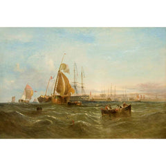"Antique Oil Painting | Morning, Dutch Boats bringing to off Portsmouth, 1867 by William Calcott Knell | 32 1/2"" by 44 1/2""-Oil Painting-Sterling-and-Burke"