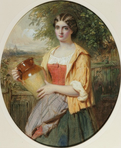 "Antique Watercolor | A Scottish Beauty by William Lucas | 18.25"" by 16""-Watercolor-Sterling-and-Burke"