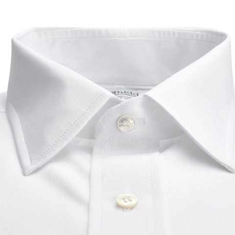 Budd Classic Fit Plain Sea Island Cotton Double Cuff Shirt in White-Dress Shirt-Sterling-and-Burke