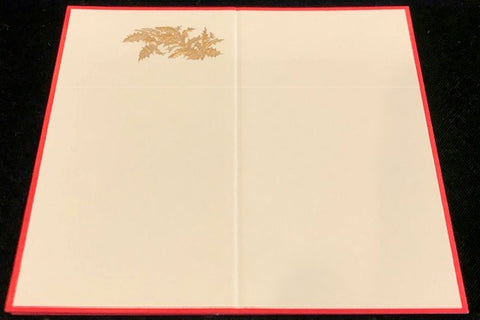 6 Place Cards with Red Border and Gold Botanical Detail by Wren Press-Stationery-Sterling-and-Burke