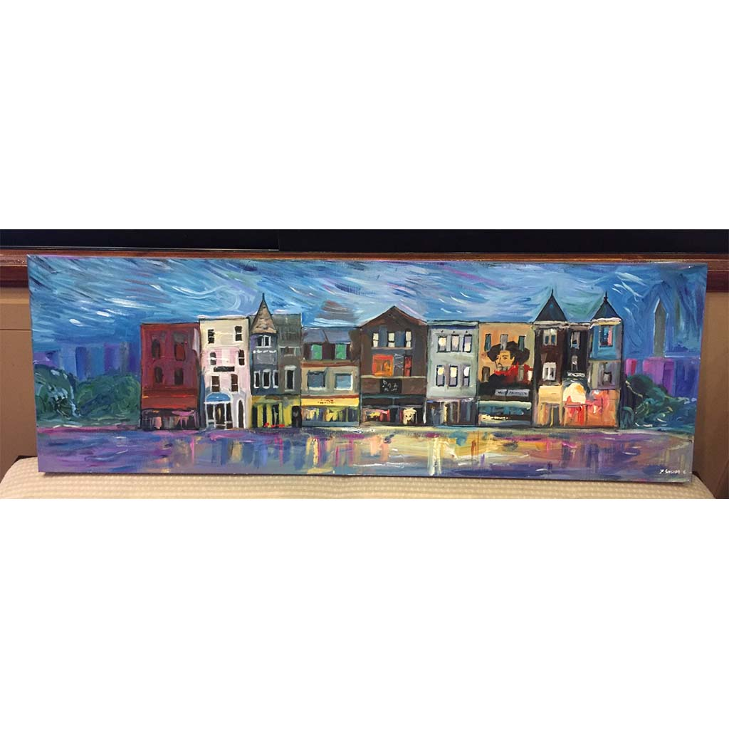 "Art | 18th Street | Adams Morgan | Washington DC Art | Acrylic Painting by Zachary Sasim | 12"" by 36""-Oil and acrylic-Sterling-and-Burke"