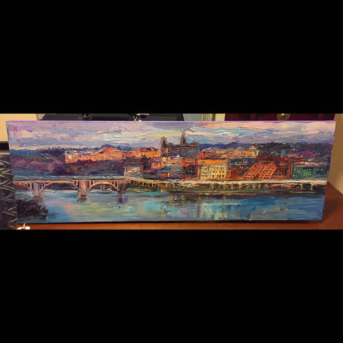 "Georgetown Panorama | Washington, DC Art | Original Oil and Acrylic Painting on Canvas by Zachary Sasim | 12"" by 36"" 